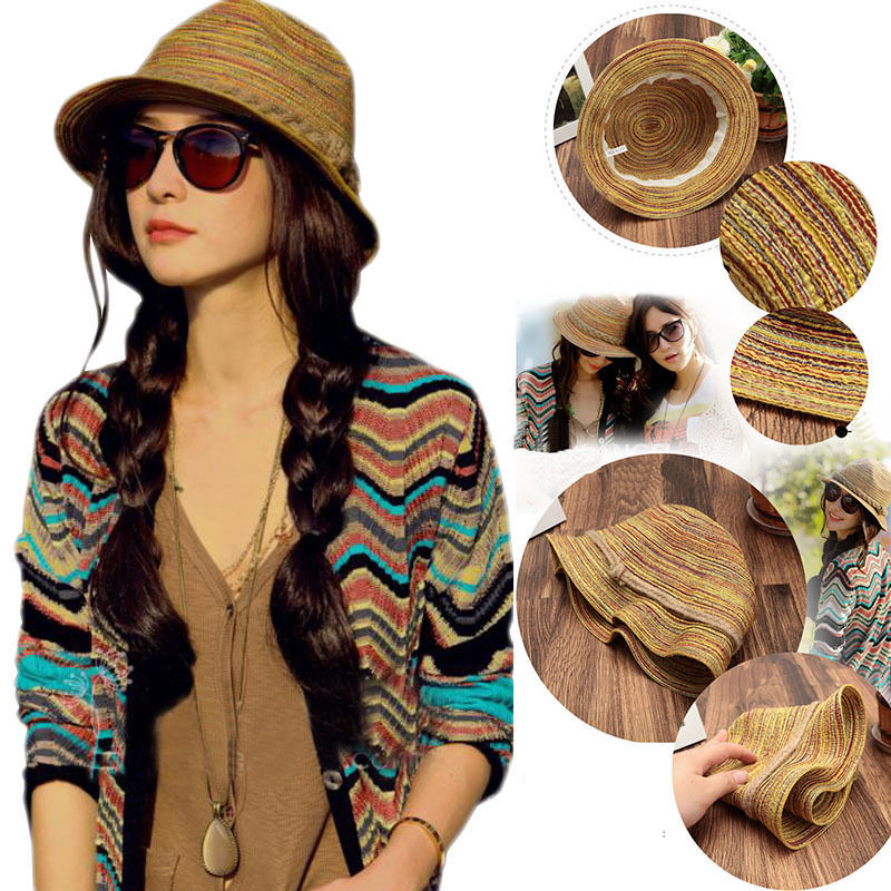 Fashion Lady Visor Cap Colorful Striped Straw Beach Summer Sun Panama Hat Foldable For Female