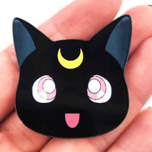 1PCS Hot Selling Luna Black Cat Cartoon Icon Brooch Acrylic Pin Anime Badge For Decoration On Coat T-shirt Backpack Scarf(China)