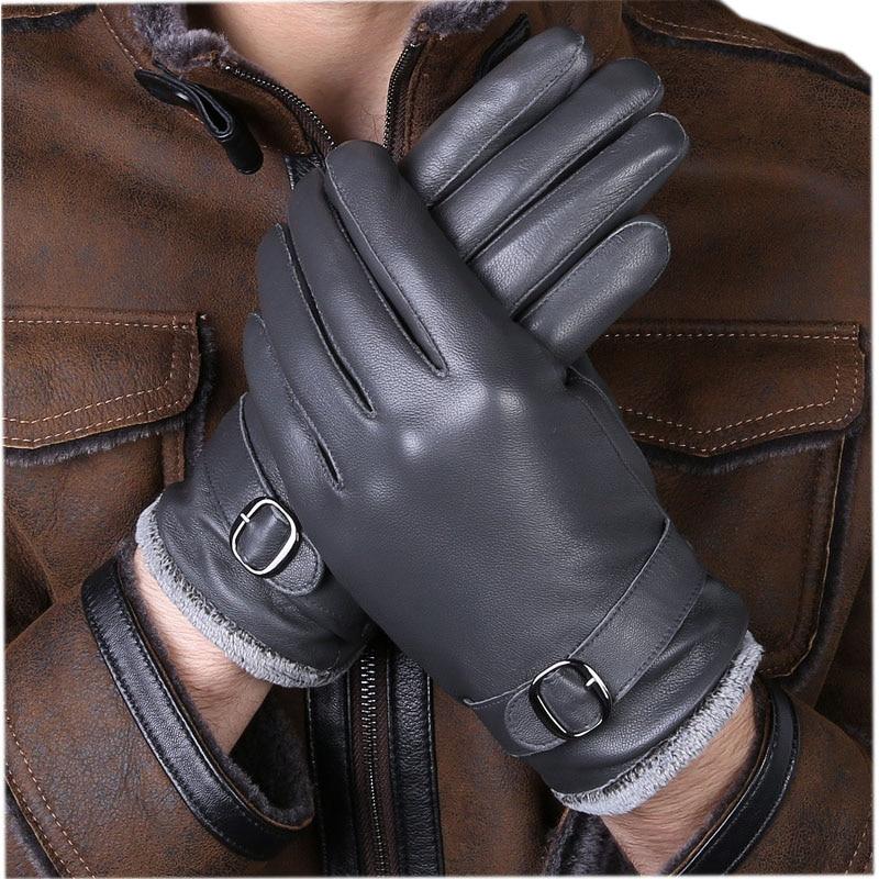 Men/'s Fur Leather Gloves Stylish Warm Winter Black Sleek Design Mittens Gift New