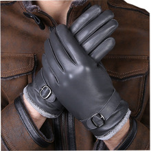 New Designer Luxury Men Genuine Leather Gloves 100% Real  Sheepskin Mittens Warm Winter For Fashion Male Glove 215-5