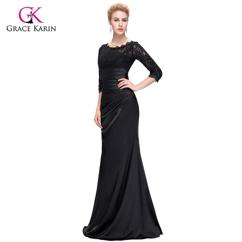 Black Evening Dresses 2017 Grace Karin Elegant 3/4 Sleeve Lace Satin ...