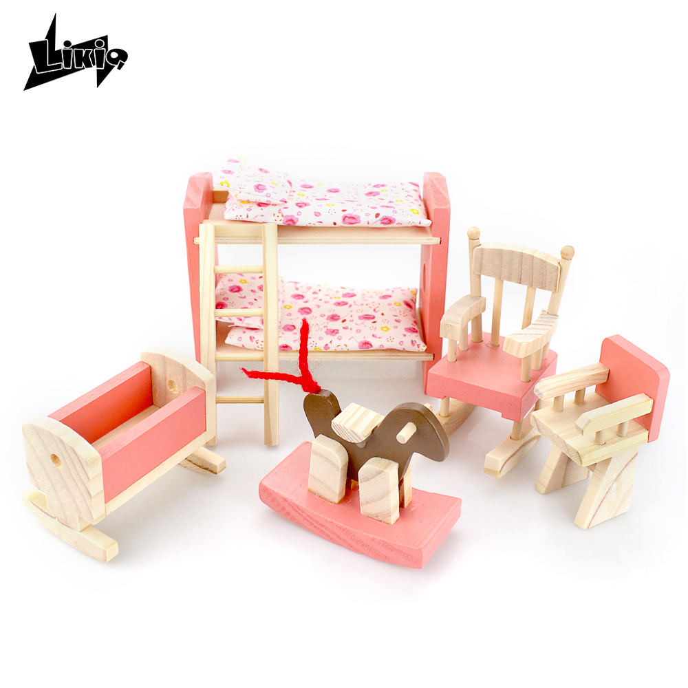 Kids Bedroom Furniture Kids Wooden Toys Online: Funny Wooden Delicate Dollhouse Furniture Toys Miniature