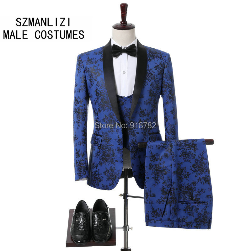 Italian Design 2018 Flower Blue Mens Dress Suits Prom Set Costume Smoking Coat Slim Fit Wedding Suits For Men Groom Tuxedos