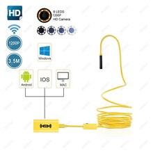 1M 2M 5M WIFI 내시경 1200P HD 카메라 8mm 안 드 로이드 IOS 아이폰 와이어 파이프 스네이크 카메라 자동차 검사 카메라 세미 리 지드 케이블