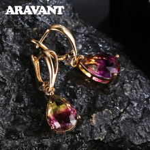 New Brand Tourmaline Color Zirconia Water Drop Dangle Earrings For Women Wedding Party Jewelry недорого