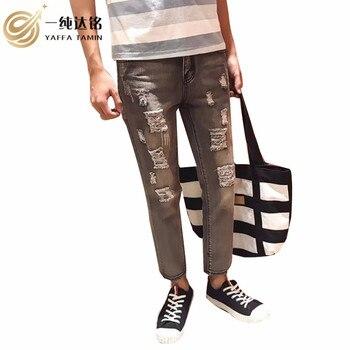 Gray Jeans Nine pants Men Trousers Denim Zipper Fly Mid Loose Pants men Jeans Softener Fashion Winter Jeans pants male clothing цена 2017
