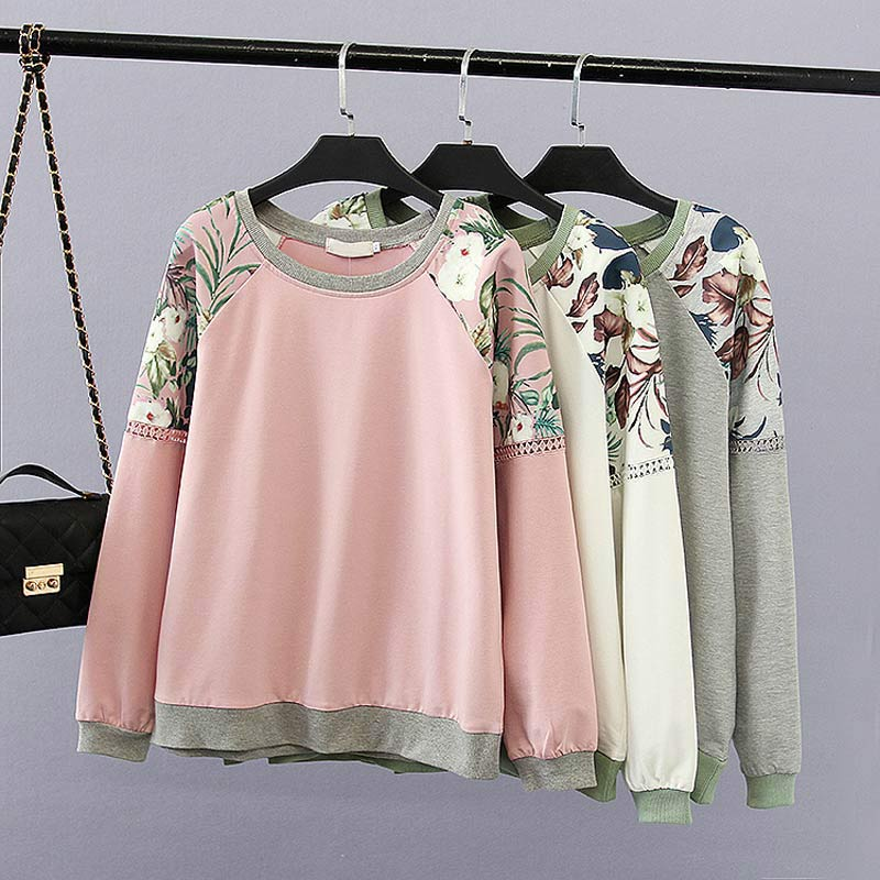 F21 Spring Casual Women Sweatshirts 4XL Plus Size Clothes Cotton Loose Tops Fashion Printing Long Sleeve Hollow Out Hoody 2048