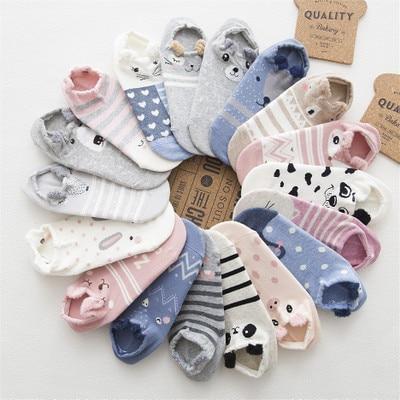 Cute Animal Cotton Socks Female Kawaii Cat With Dog Summer Short Socks Slippers Women Casual Soft Funny Boat Socks