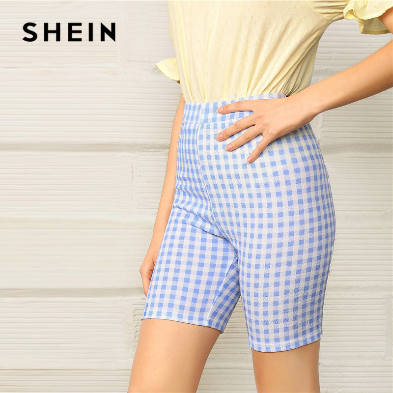 SHEIN Pastel Blue Preppy Elastic Waist Gingham Stretchy   Short   Pants Women Casual Streetwear Mid Waist Skinny Summer   Shorts