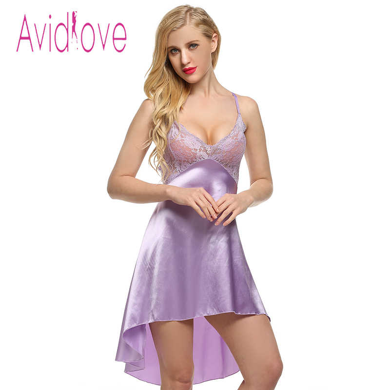 d11d92425 Avidlove Sexy Stain Nightgown Women Lace Sleepwear Night Dress Sexy Strap  Lingerie Slik Nightwear Nightdress+ G