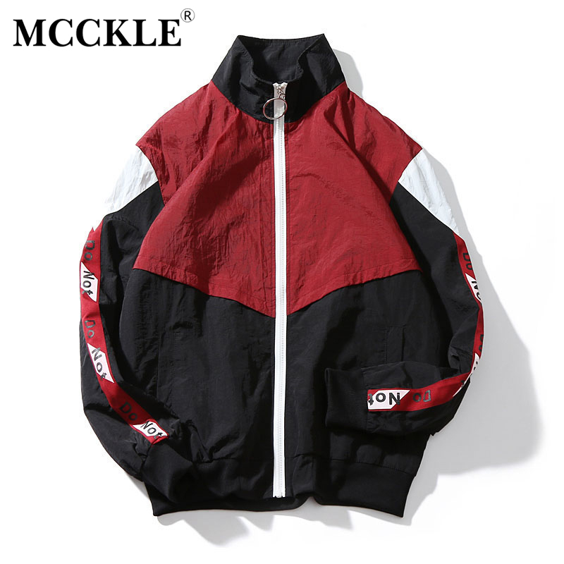 MCCKLE 2018 Spring Mens Jacket Stand Collar HipHop Outwear Bomber Jacket Patchwork Casual Men Coat Bomb Baseball Jackets ...
