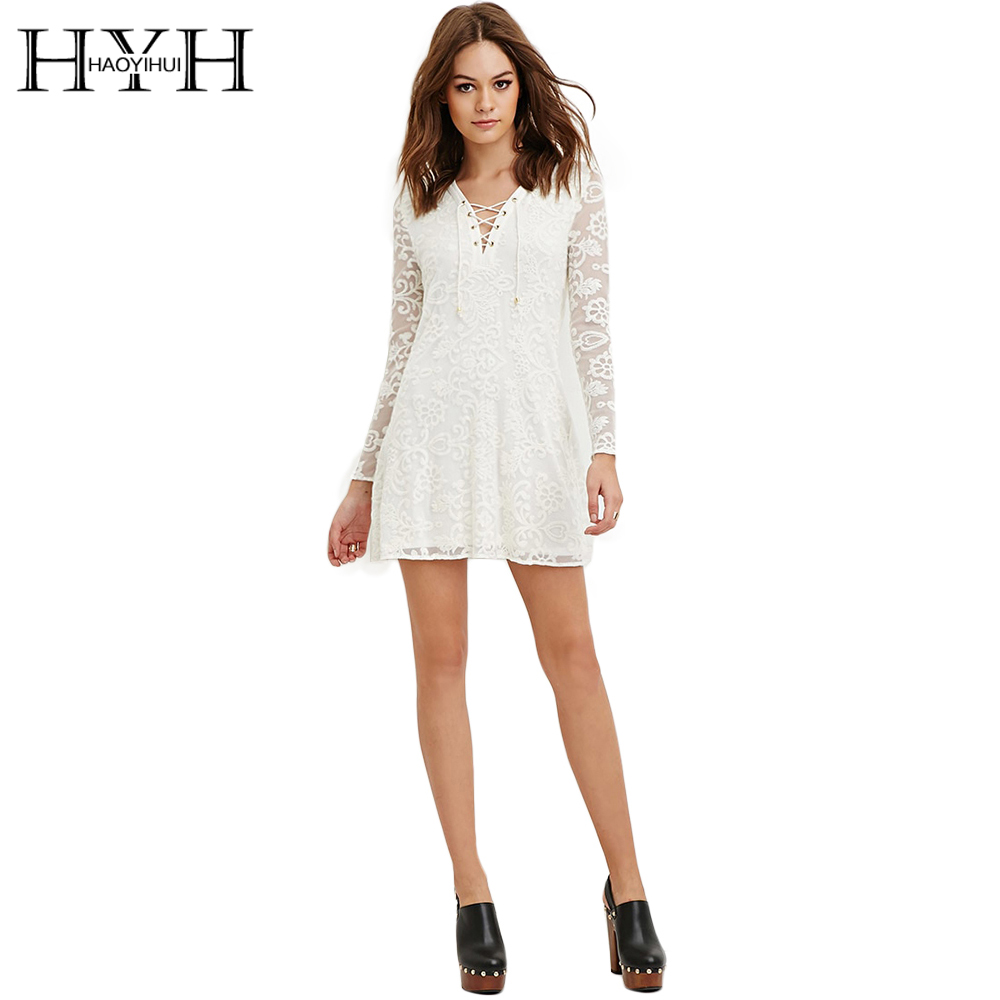 0bbe776ef8b21 HYH HAOYIHUI Solide Blanc Femmes Robe Col V Cut Out Manches Longues En  Dentelle Robes Floral Broderie Mince Casual Sexy Mini Robe