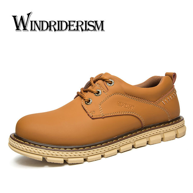 WINDRIDERISM Men Genuine Leather Boots High Quality Flat Heels Shoes Designer Lace Up Flats Genuine Leather Boots Shoes