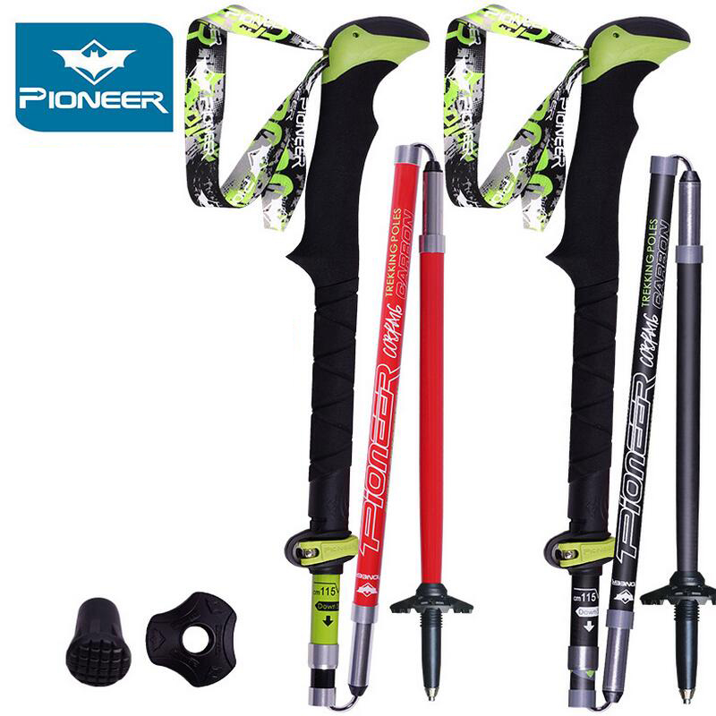 2 قطعه / قطعه تاشو برای قطب های پیاده روی Nordic Carbon Hiking Ultralight Walk Stick Camp Cane Crutch Pioneer Trekking Polish