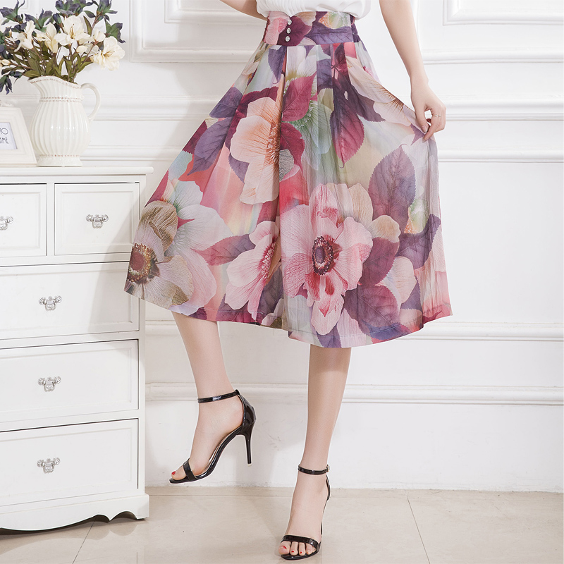 Summer   Pant   2019 Women Print   Wide     Leg     Pants   Skirt Loose Bohemian Casual Seven Points Elastic High Waist Chiffon   Pants   243