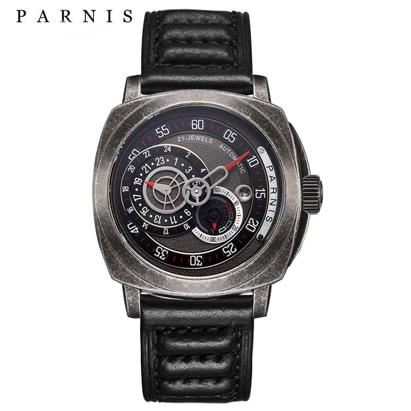 Parnis 44mm Mechanical Men Watch Tritium Sapphire Mirrow Leather Diver Automatic Watch Men GiftsParnis 44mm Mechanical Men Watch Tritium Sapphire Mirrow Leather Diver Automatic Watch Men Gifts