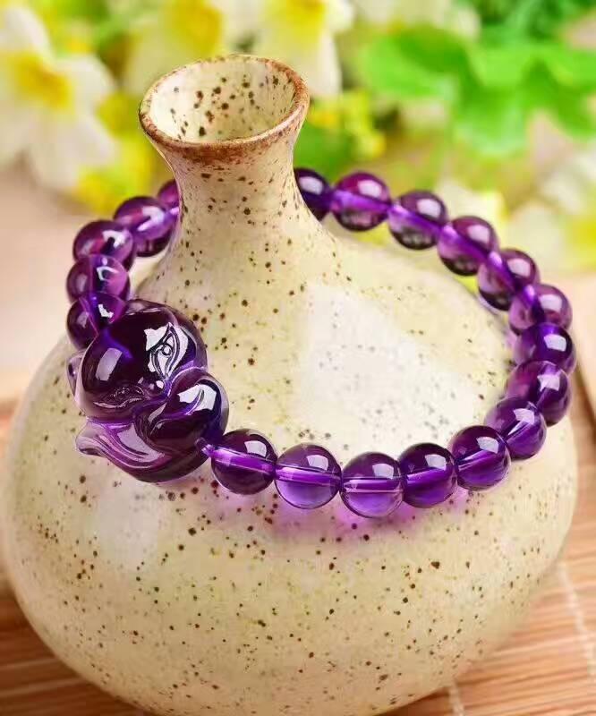(Diamètre de la boule: 8mm) bracelet de perles rondes en cristal de Quartz améthyste naturel