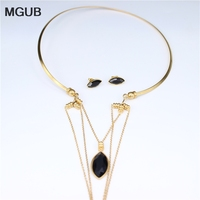 New 316 Stainless Steel Jewelry Crystal Collar Earrings Set Faded Fashion Sexy Women Jewelry Model Show