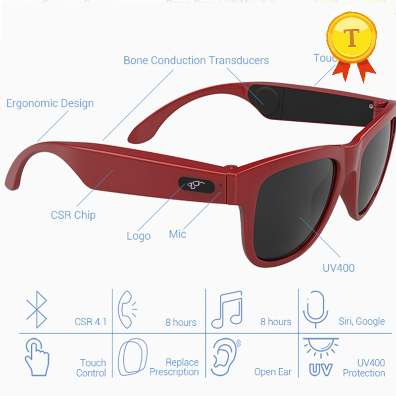 new arrivel boyfriend best gift blutooth V4.1+EDR Stereo Bone Conduction Earphone Sunglasses with Microphone Answer Phone call