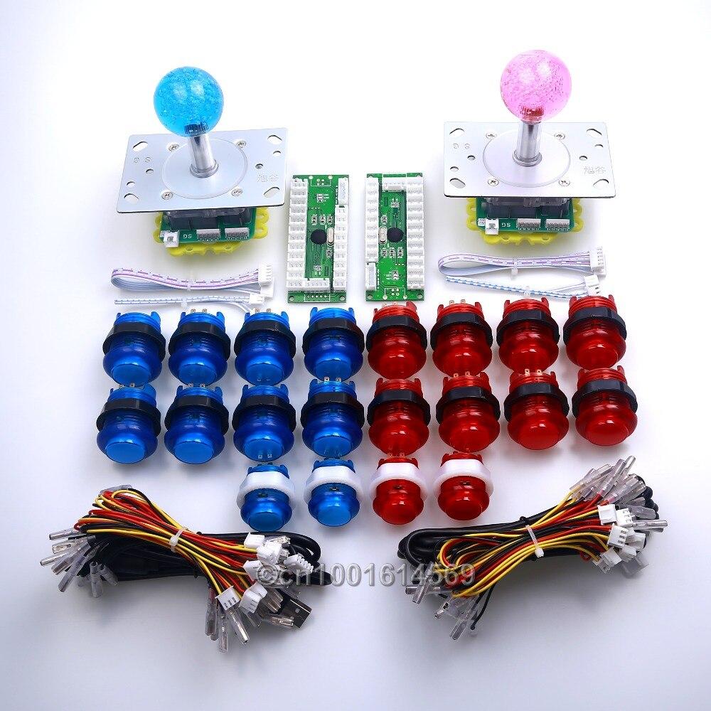 Reyann 20 шт./лот Аркады <font><b>DIY</b></font> Комплект Наборы Запчасти светодиодной подсветкой push Кнопки + 2/4/8 способ светодиодные Джойстики + USB PC кодер для MAME