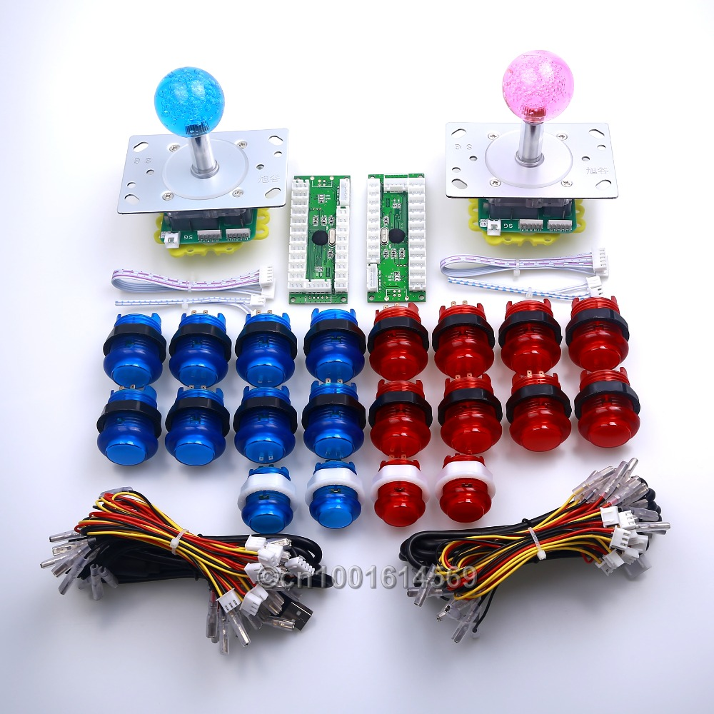 Reyann 20pcs/lot Arcade DIY Bundle Kits Parts LED Illuminated Push Buttons+ 2/4/8 Way LED Joysticks + USB PC Encoder For MAME new led arcade game diy parts 2 x 5pin 5v 2 4 8 way led illuminated joystick 16 x led illuminated push button for mame game
