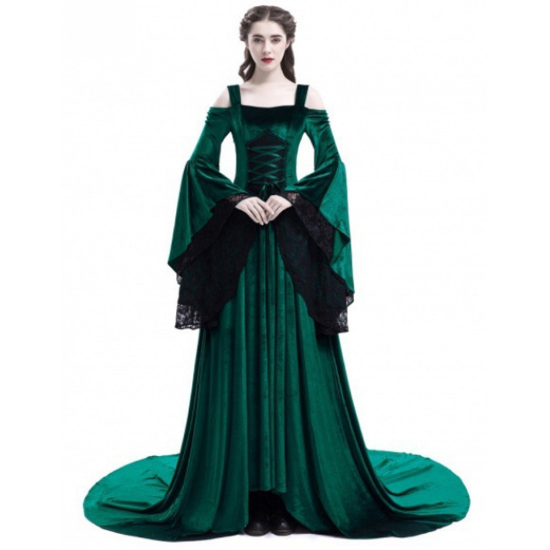 Women Sexy Off Shoulder Medieval Dress Black Vintage Gothic Dress Floor Length Cosplay Dresses Retro Renaissance Gown