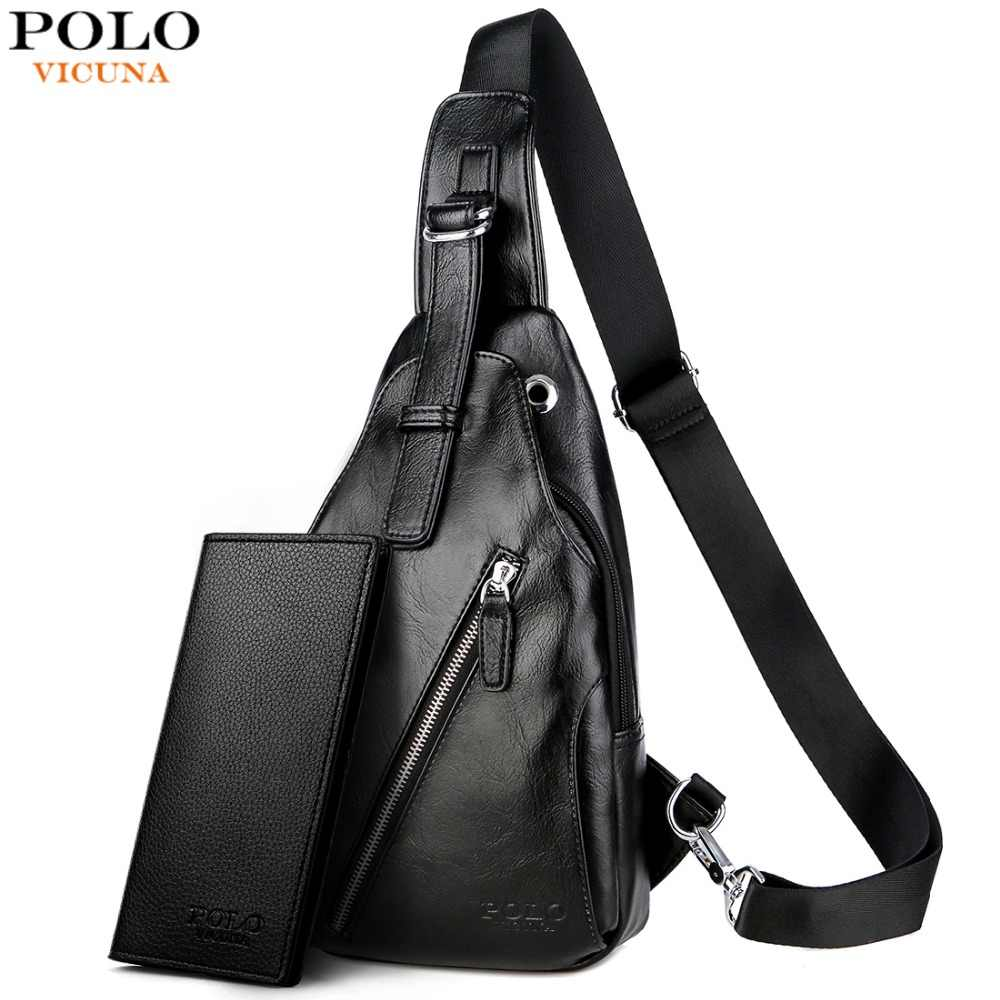 VICUNA POLO Anti-theft Leather Magnetic Button Open Man Chest Bags With  Headphne Hole Brand 662649af8a