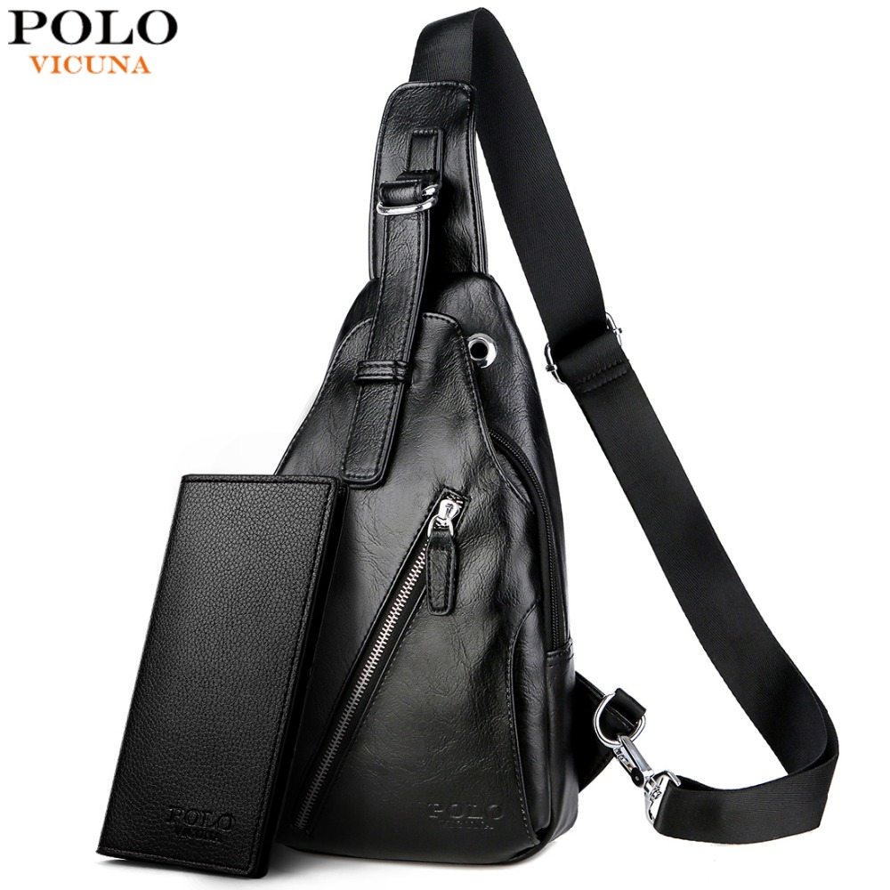 c8921c32d46 VICUNA POLO Anti-theft Leather Magnetic Button Open Man Chest Bags With  Headphne Hole Brand Contrast Color Men Messenger Bag