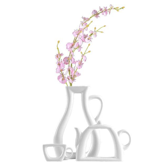 Nordic Ceramic White Teapot Vase Set Wedding Vases Home Decor Living