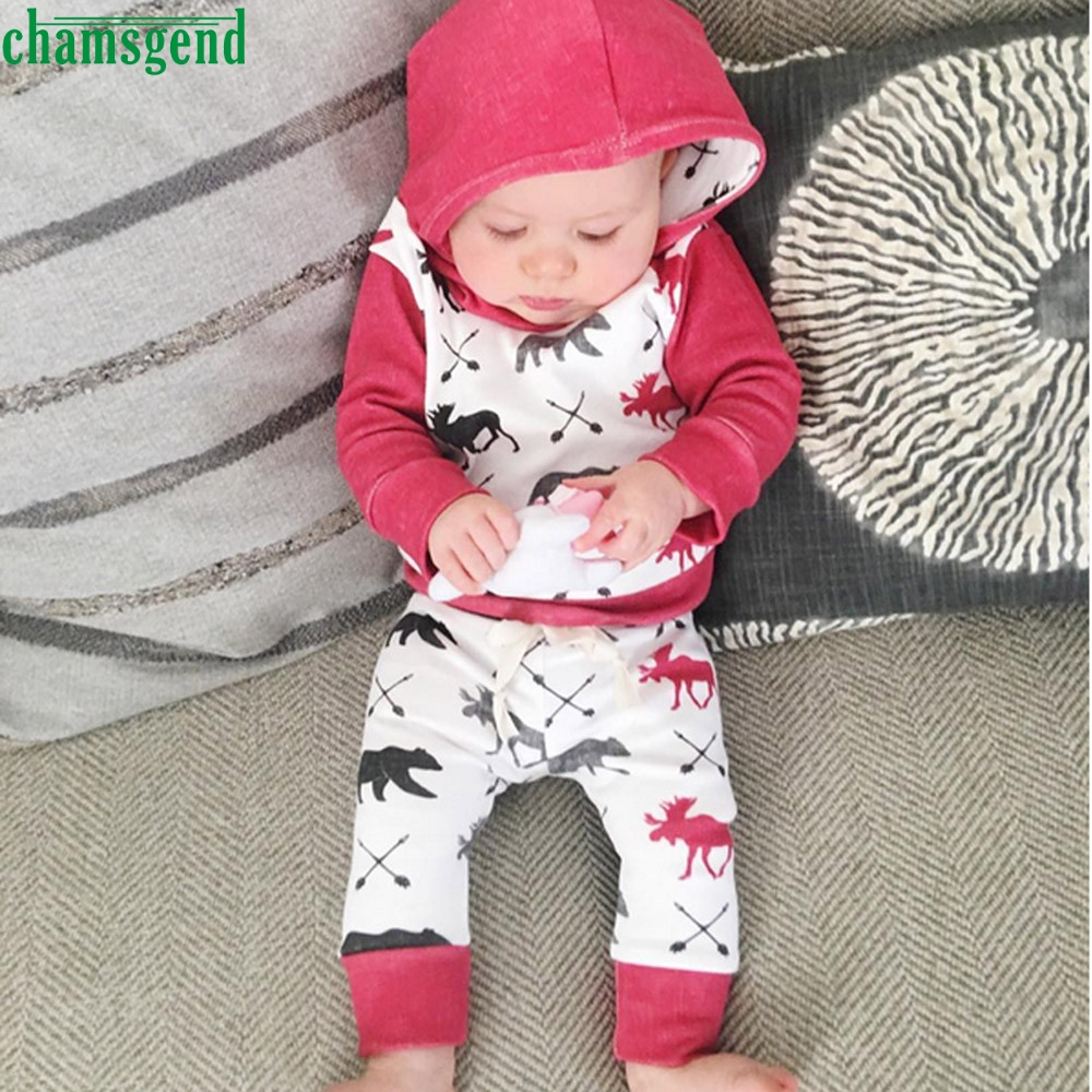 CHAMSGEND Toddler Infant Baby Boy Girl Deer Bear Character Full Cotton Hoodie Tops+Pants Outfits Clothes Set P30 APR10