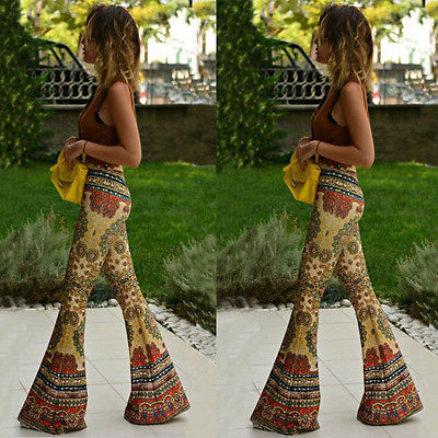 Fashion Women Flared Legged Palazzo Bell Bottom Boho Floral Pants Stretch High Waist Yellow  Boot Cut Pant