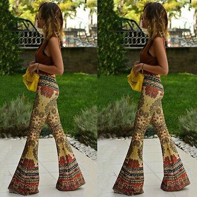 Fashion Women Flared Legged Palazzo Bell Bottom Boho floral Pants Stretch High Waist yellow boot cut pant