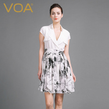 VOA Plus Size Silk Sexy White Casual Belt Dress High Waist Short Sleeve Notched Collar Splicing