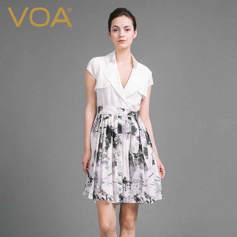 VOA Summer Silk Sexy Splicing White Dresses 2017 Fashion Short Sleeve V neck Casual font b