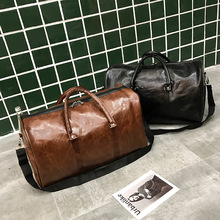 Free Shipping Popular Design PU Leather Weekend Duffel Bag Portable Highcapacity