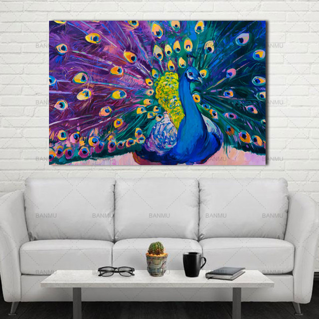 Canvas Prints Home Decor Modern Animal Wall Art Painting Peacock Unframed  Modern Vintage Blue Peacock Wall