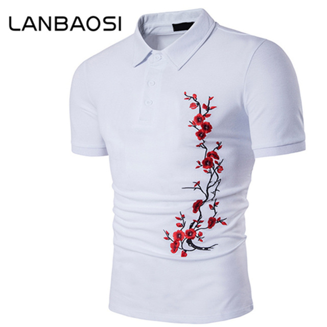 a39eb338f LANBAOSI New White Embroidery T-shirts Men Short Sleeve Turn-down Collar  Tops Tee Chinese Preppy Style Plum Blossom Tshirt