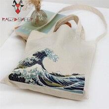 Fait rage Moutons De Mode Coton D'épicerie Fourre-Tout Sacs À Provisions de Pliage Panier Éco Grab Bag Réutilisable Baggu Avec Sea Wave Imprimer