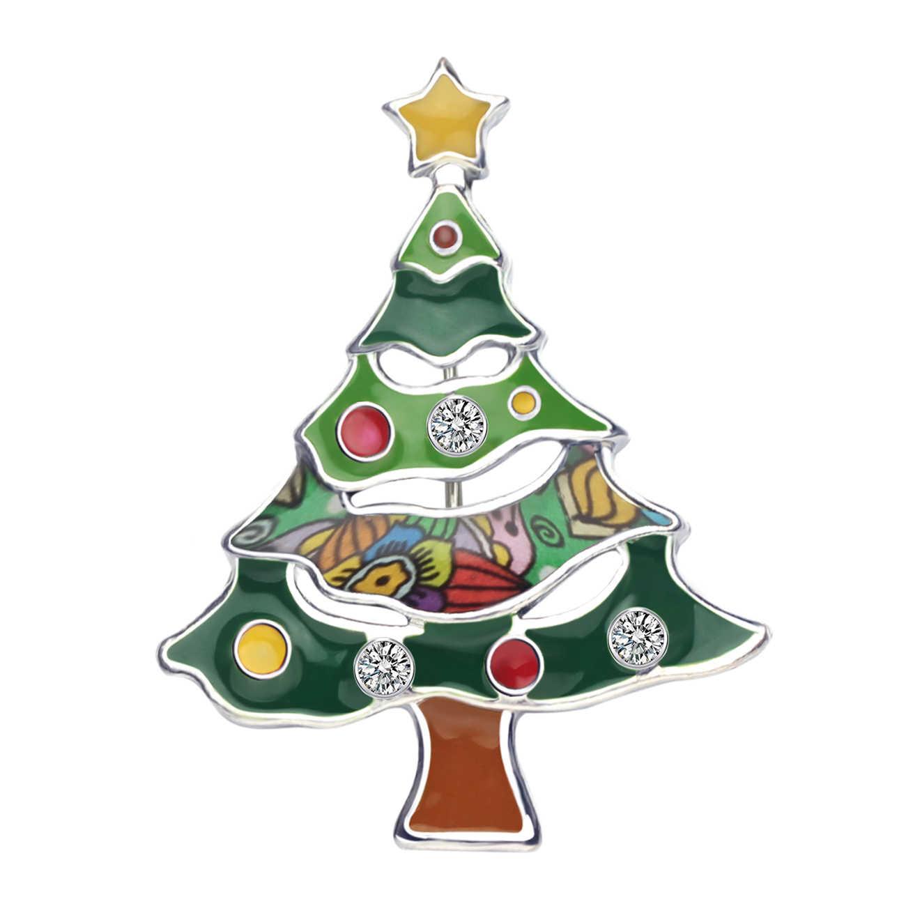 WEVENI Della Lega Dello Smalto Albero Di Natale Star Spille Abbigliamento Sciarpa Navidad Decorazione Spille del Regalo Dei Monili Per Le Donne Ragazze Adolescenti Bijoux