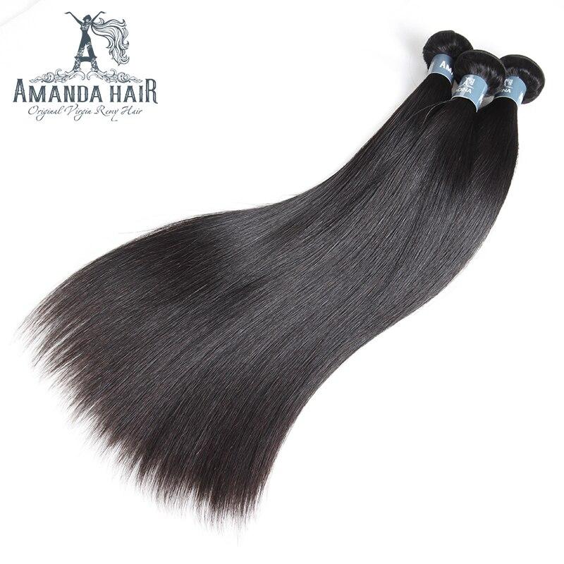 Amanda malaisienne cheveux raides paquets 100% non transformés cheveux humains tissage pour Salon malaisien vierge cheveux 3 paquets ventes