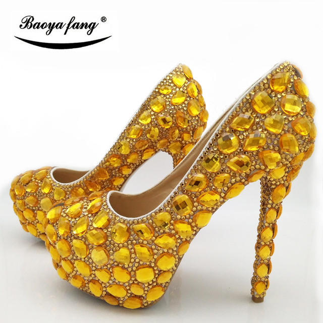Yellow Gold Wedding Shoes With Matching Purse | High Heel Wedding Shoes