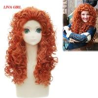 LIVA GIRL Movie Brave Long Curly Princess Merida Cosplay Wig For Cosplay Orange Hair With Hair