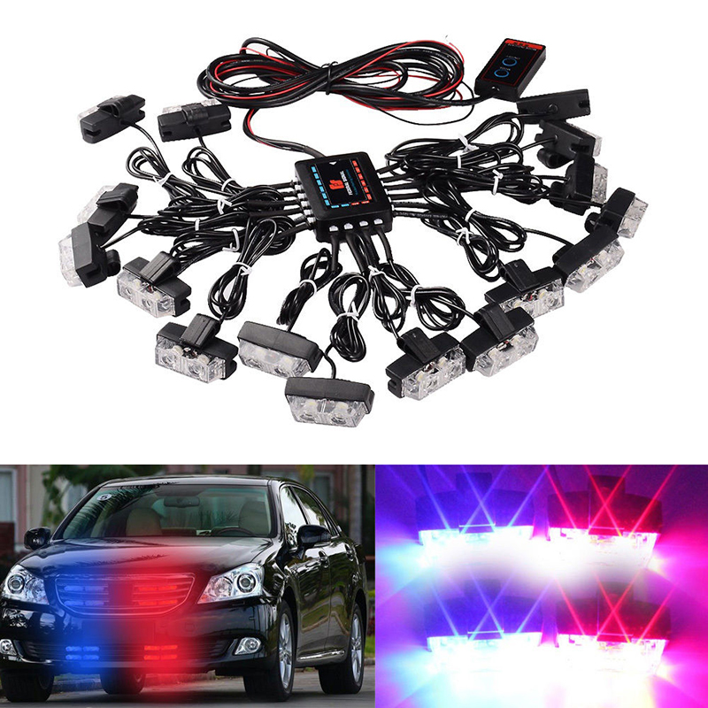 Red Blue Amber White 16x 2 LED Flash Emergency Strobe Car Grill Light Ultra Bright 32 LED 32W High Power Light цены онлайн