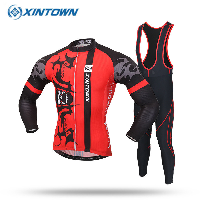 XINTOWN 2017 Cycling Jersey Long Sleeve Bibs Pants Set Team Pro Bike Clothing MTB Ropa Ciclismo Mens Cycling Wear Red/White veobike cycling jersey ciclismo 2017 pro team 8 style men s winter long sleeve bike set mtb bicycle wear ropa ciclismo invierno