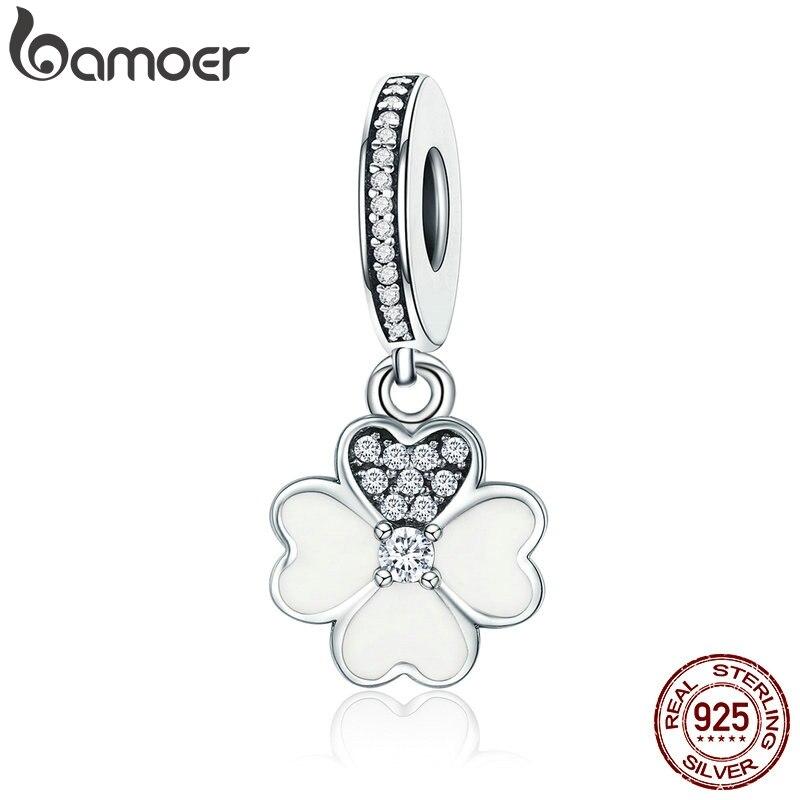 Bamoer genuíno 925 prata esterlina coração pétalas trevo balançar charme caber charme original pulseiras para as mulheres diy jóias scc259