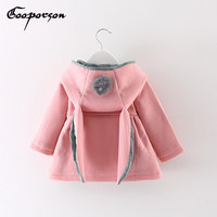 Baby Girls Jacket Coat Rabbit Ear Hooded Infant Winter Autumn Outerwear Jakcets Pink Red Grey Coats