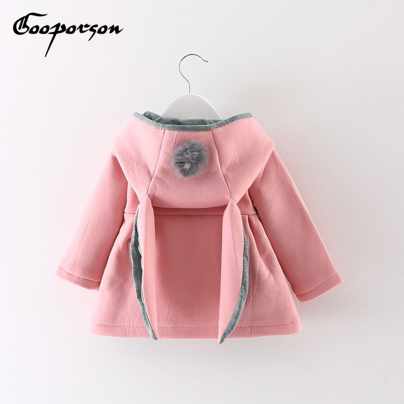 Baby girls jacket coat rabbit ear hooded infant winter autumn outerwear jackets pink/red/grey coats kids clothing baby clothes cute rabbit ear hooded girls coat new spring top autumn winter warm kids jacket outerwear children clothing baby tops girl coats