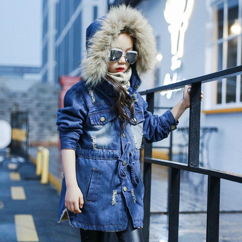 Image 3 - 2018 детская джинсовая куртка для девочек хлопковая Джинсовая Верхняя одежда с большим меховым воротником осенне зимняя Базовая ковбойская куртка для девочек-in Куртки и пальто from Мать и ребенок