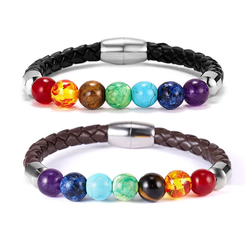 8mm 7 Chakra Stone Bracelets for Women Men Buddha Bless Healing Balance Beads Reiki Buddha Prayer Leather Rope Bracelet Jewelry