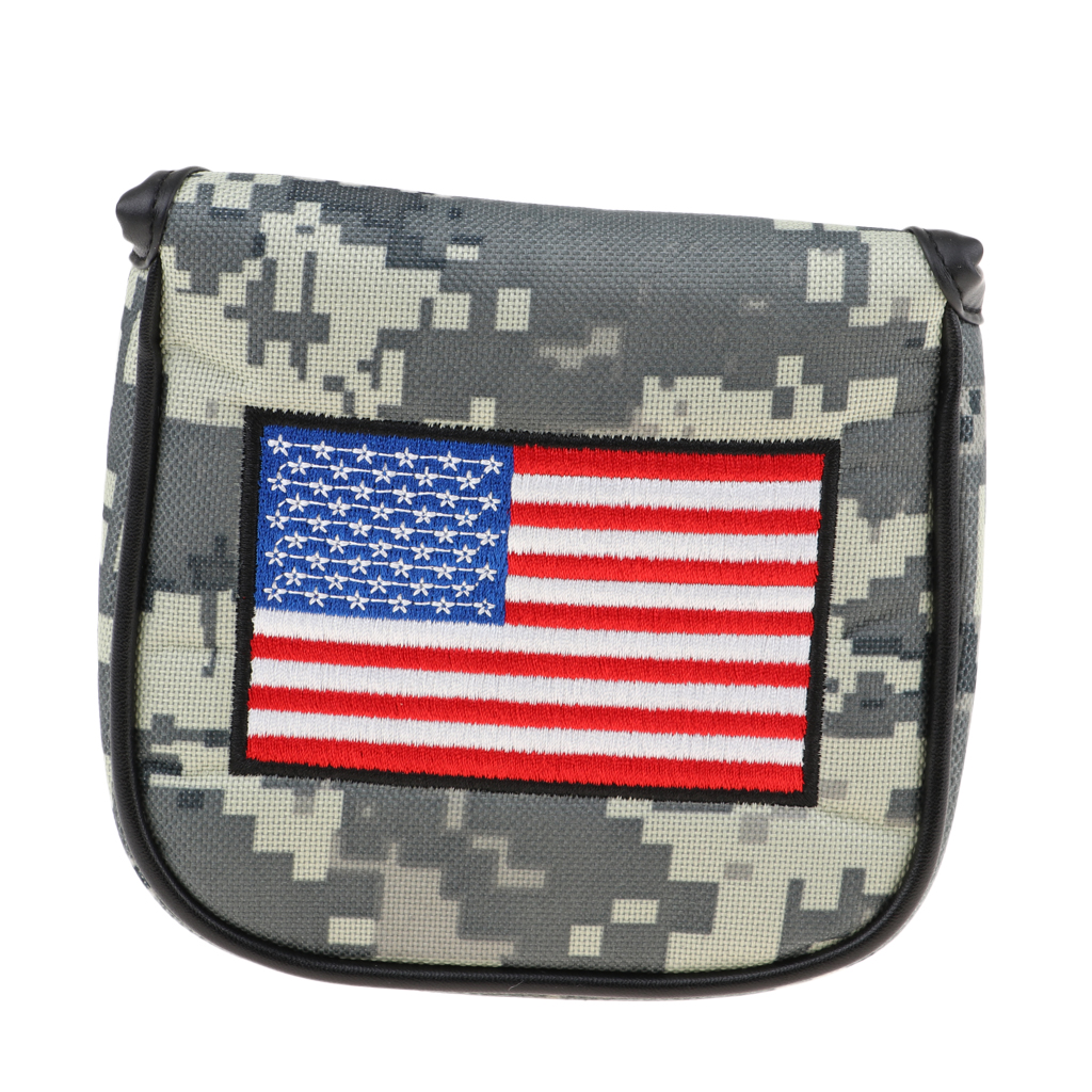 Premium USA Flag Golf Square Mallet Headcover Putter Cover Sleeve & Magnetic Closure For Golf Clubs